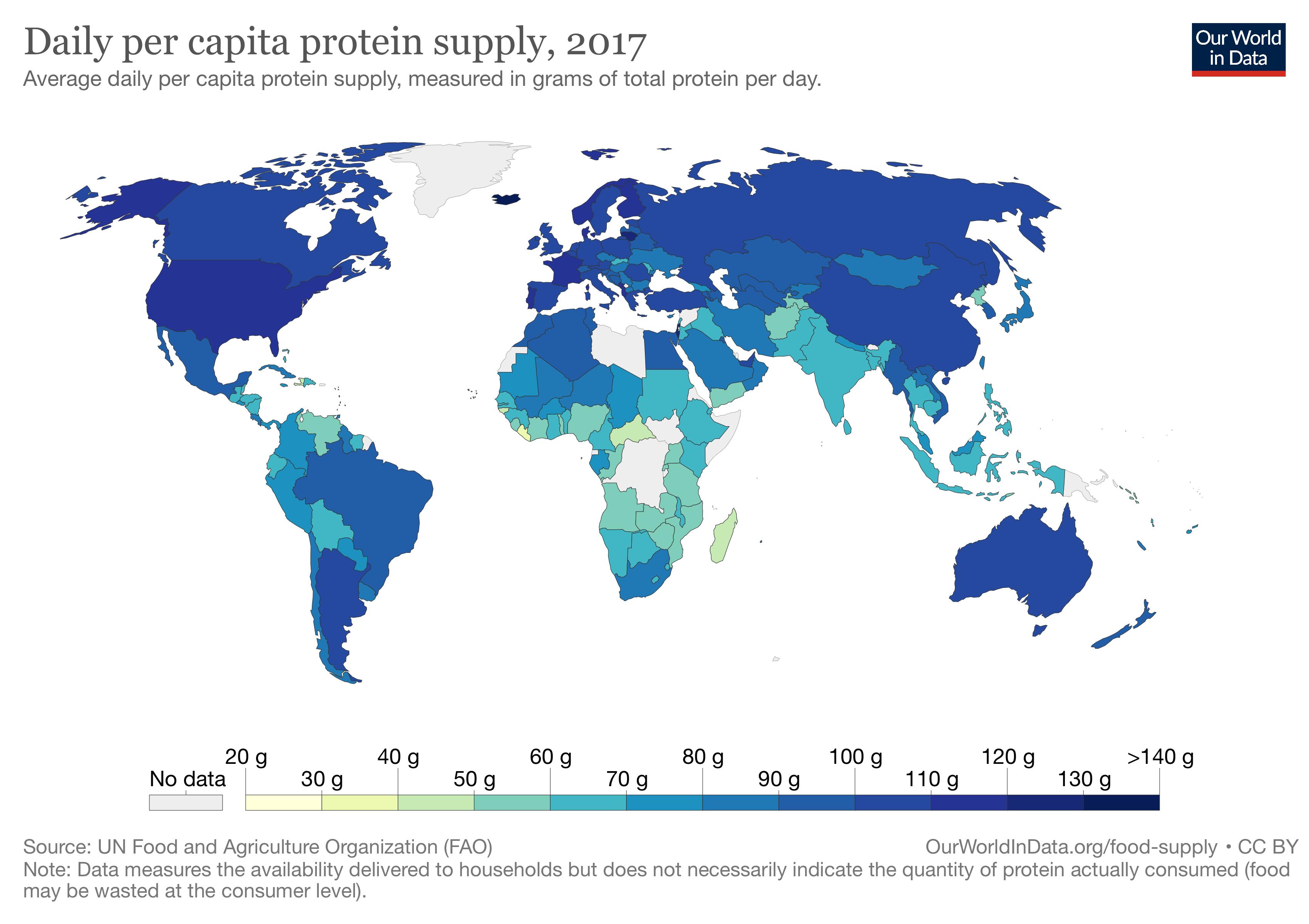 一人当たりタンパク質供給量 国別